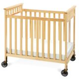 Scottsdale Compact Size Crib, Natural Finish, Casters & 3 Foam Mattress Included, 24 x 38.