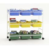 Book Browser Cart with 6 Divided & 3 Open Tubs