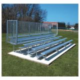Outdoor 5 Row Bleachers, 27' Aluminum/Steel with Guard Rail