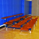 Indoor 4 Row Bleachers, 15' Preferred Tip & Roll, Powder Coat All Alum, Double Foot Planks, Specify Color