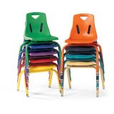Berries® Stacking Chair with Powder-Coated Legs - 14 Ht - Camel