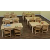 Table and Chair Classroom Package with 6 Hardwood Tables, 18H and 12 Hardwood Chairs