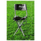 Deluxe Foldable Coaches Stool with seat back, supports up to 275 lbs. black/grey polyester, seat height 17.5, 30 x 15.5 x 13