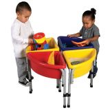 4 Station Round Sand & Water Play Table with Lids, 30 diameter