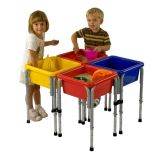 4 Station Square Sand & Water Play Table with Lids, 29 3⁄4W x 29 3⁄4D