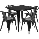 31.5'' Square Black Metal Indoor Table Set with 4 Arm Chairs