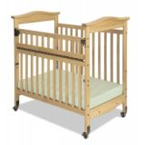 Biltmore Compact-Sized SafeReach® Crib, 38 x 24, with Mattress and Casters, Natural Finish