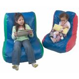 High-Back Bean Bag Chair, Youth/Adult, Green/Blue Combo