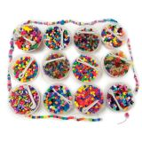 Beads Treasure Box - Includes: 12 Buckets of Assorted Colored Beads with Beading Thread