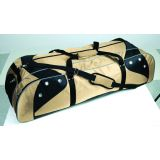 Lacrosse Players Bag 42L x 13W x 12H, heavyweight nylon, separate bat compartment, vented shoe pocket, oversized zippers on pockets, vegas gold