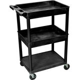 18 x 24 Utility Cart 2 Tub, 1 Flat Shelf, Black