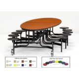 10' Elliptical Cafeteria Stool-Table, MDF with ProtectEdge & Chrome Frame