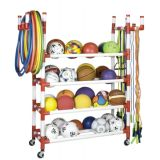 4-Tier Equipment Cart, Holds up to 40 Balls, 150 Ropes and 48 Hoops, on Casters, 61L x 19W x 62H