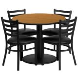 36 Round Table with 4 Ladderback Chairs