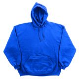 Youth Sweatshirt Hooded Pullover, cotton/polyester, size large, royal