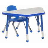 18 x 30 Gray/Blue Trapezoid Table w/ Toddler Legs; and 1 Blue Chair, 14H