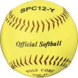 Softball, official 11 optic yellow, syntex leather, poly core, raised seam, 12-pk