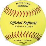 Softball, official 11 NFHS Approved, optic yellow leather cover, cork core, raised seam, 12-pk