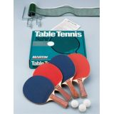 4 Rubberface Tennis Paddles, 3 balls, tie-on net, 1/2 ext. posts