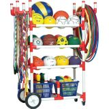 24 Ball High Impact All-Terrain Heavy-Duty 4-Tier Cart, with Casters and Rear Wheels, 52Lx24Wx59H