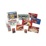 11 different board games. Set includes one each of: Uno, Checkers, Dominoes, Chess, Connect Four, Sorry, Scrabble, Monopoly, Backgammon, Jumbo Old Maid, and Trouble.