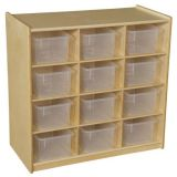 (12) Cubby Storage with Translucent Trays