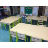 Classroom Set Including 15 Lime Green Chairs and 3 Rectangular Birch Tables, 30W x 47L