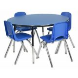 48 Blue/Black Round Table w/ Standard Swivel Legs; and 4 Blue Chairs, 18H