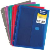 C-Line® Binder Pocket with Hook & Loop Closure, Side Loading, Single Pocket
