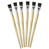 Long Handle Easel Brushes, 1 Wide, Set of 6
