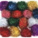 Glitter Pom Pons, Bag of 40, 1