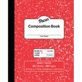 Marble Composition Book, Grade 3, Red, 3/8 Ruled