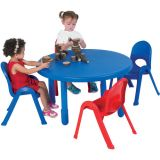 Value Table & 4-Chair Set, Round, Preschool size, Blue Table + 4 Chairs (2 Red, 2 Blue)