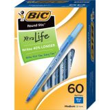 BIC® Round Stic® Xtra Life Ballpoint Pens, Blue, Box of 60