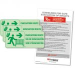 Evacuation Route Sign Kit, 3 signs with Protocol