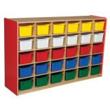 30-Tray Storage, 38H x 58W, With Color Trays, Strawberry Red™