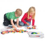 Plastic Pattern Blocks, Primary colors, 0.5 cm thick, Set of 250