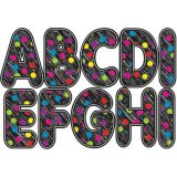 2-3/4 Designer Magnetic Letters, Black Scribble Chalk Color Dots