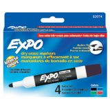 Expo® Low Odor Dry Erase Markers, Bullet Tip, 4-color set
