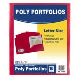C-Line® Two-Pocket Poly Portfolios, Without prongs, Red, Pack of 10