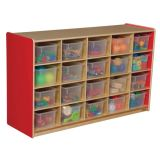 20-Tray Storage, 30H x 48W, With Translucent Trays, Strawberry Red™
