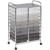 Mobile Organizer, 20 Drawer Double-Wide, Grayscale