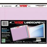 Legal Pad, Landscape, Assorted 3-Pack (Orchid, Blue, and Pink)