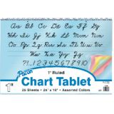 Colored Paper Chart Tablet, 24 x 16, 1 ruled