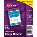Avery® Heavy Duty Secure Top™ Badge Holders, 4 x 3 Portrait