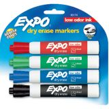 Expo® Low-Odor Dry Erase Markers, 4 Color Set, Chisel Tip