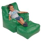 Bean Bag Chair & Ottoman Set, Green