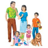Asian Family Flannelboard Set, Pre-cut