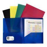 C-Line® Two-Pocket Poly Portfolios, Without prongs, Assorted, Pack of 10