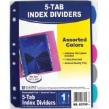 C-Line® Mini 5-Tab Poly Index Dividers, Pack of 5